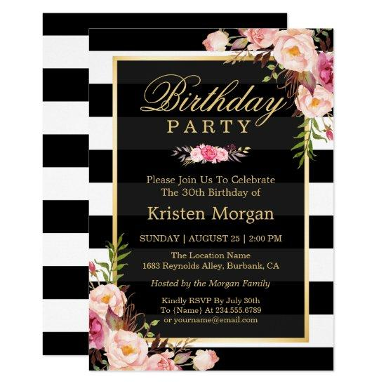 Elegant Floral Black White Stripes Birthday Party Invitations
