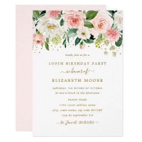 Elegant Floral Blush Gold 100th Birthday Invitation