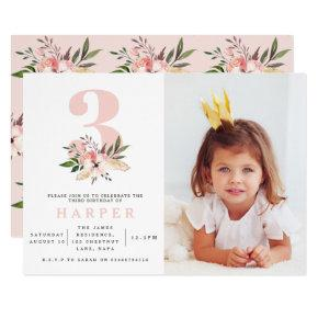 Elegant floral pink birthday party invitation