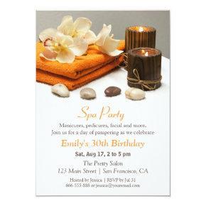 Elegant Floral Spa Birthday Party Invitations