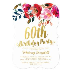 Elegant Floral White Gold 60th Birthday Party Card