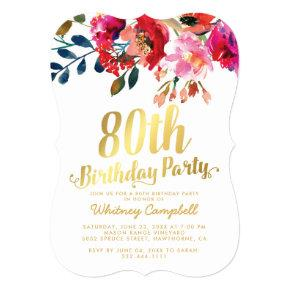 Elegant Floral White Gold 80th Birthday Party Card