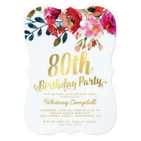 Elegant Floral White Gold 80th Birthday Party Invitation