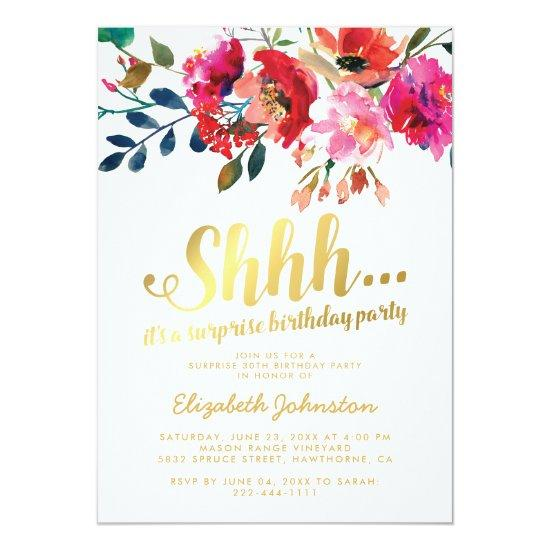 Elegant Floral White Gold Surprise Birthday Party Invitations