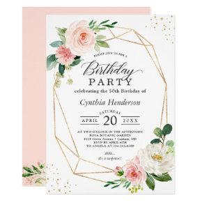 Elegant Geometric Blush Pink Floral Birthday Party Invitation