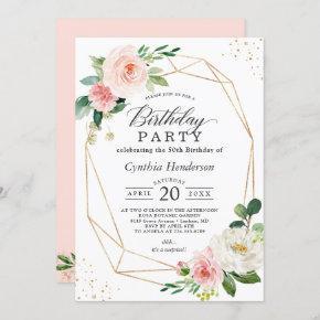 Elegant Geometric Blush Pink Floral Birthday Party Invitation