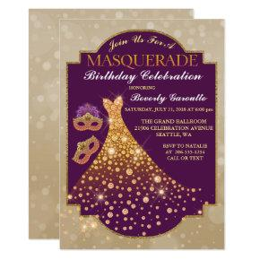Elegant Glam Birthday Masquerade Invitations