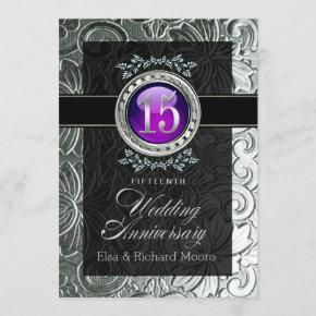 Elegant Glamour Embossed 15th Anniversary Invitation
