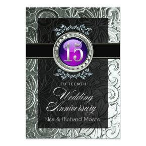 Elegant Glamour Embossed 15th Anniversary Invitation