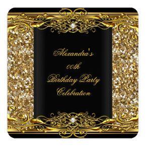 Elegant Glitter Gold Black Birthday Party Invitation