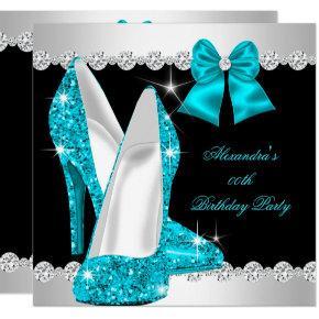 Elegant Glitter Teal Blue High Heels Birthday Invitations