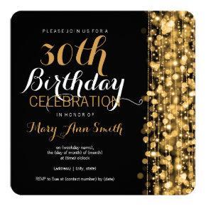 Elegant Gold 30th Birthday Party Sparkles Card