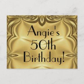 Elegant Gold 50th Birthday Invitation Post