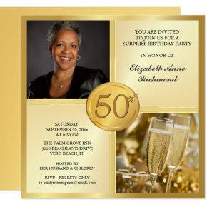 Elegant Gold 50th Birthday Party Photo