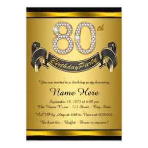 Elegant Gold 80th Birthday Party Invitations