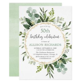 Elegant gold and eucalyptus adult birthday invitation