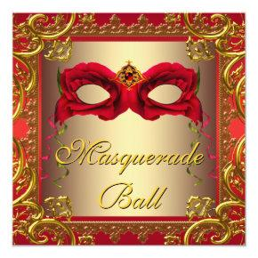 Elegant Gold and Red Masquerade Party Invitations