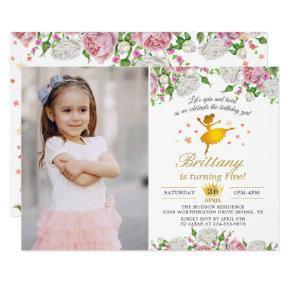 Elegant Gold Ballerina Floral Girl Photo Birthday Card