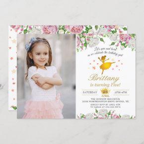 Elegant Gold Ballerina Floral Girl Photo Birthday Invitation