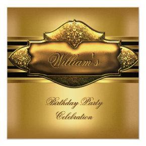 Elegant Gold Birthday Party Mens 60th Invitation