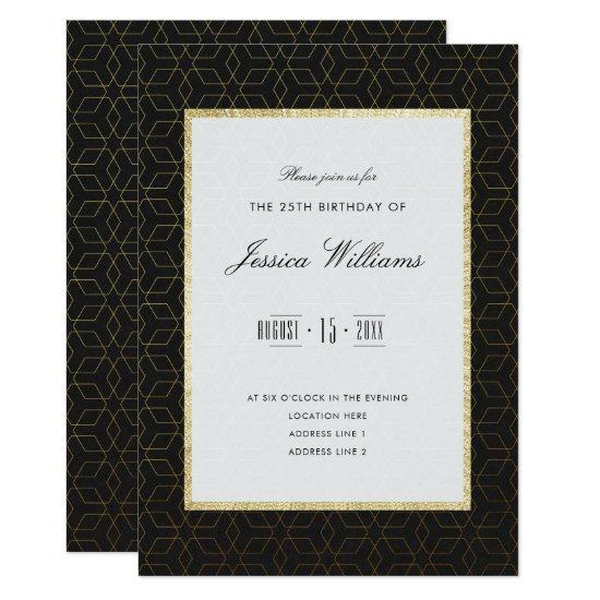 Elegant Gold Black 25th Birthday Party Invitations