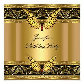 Elegant Gold Black Butterfly Birthday Party Card