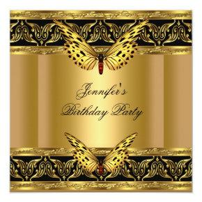 Elegant Gold Black Butterfly Birthday Party Invitations