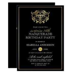 Elegant Gold & Black Masquerade Surprise Party Invitation