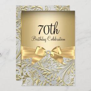Elegant Gold Bow Floral Swirl 70th Birthday Party Invitation