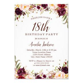Elegant Gold Burgundy Floral 18th Birthday Party Invitations