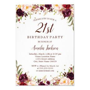 Elegant Gold Burgundy Floral 21st Birthday Party Card