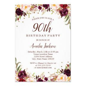 Elegant Gold Burgundy Floral 90th Birthday Party Invitation
