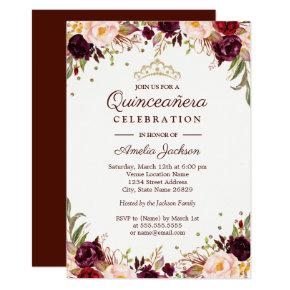 Elegant Gold Burgundy Floral Quinceanera Card