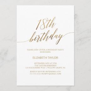 Elegant Gold Calligraphy 18th Birthday Invitation