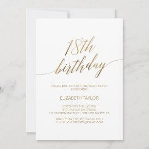 Elegant Gold Calligraphy 18th Birthday Invitation