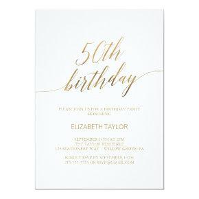 Elegant Gold Calligraphy 50th Birthday Invitation