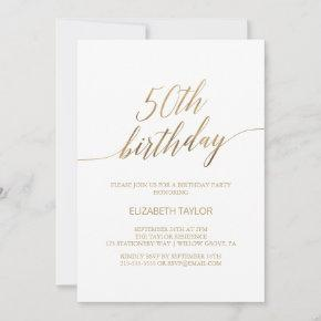 Elegant Gold Calligraphy 50th Birthday Invitation