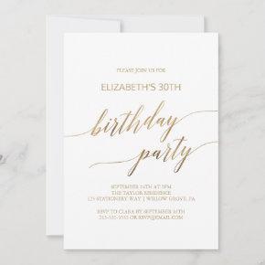 Elegant Gold Calligraphy Birthday Party Invitation