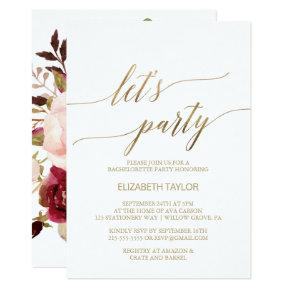 Elegant Gold Calligraphy | Floral Back Let's Party Card