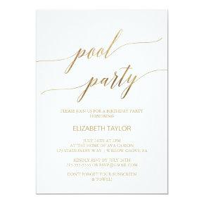 Elegant Gold Calligraphy Pool Party Birthday Invitation