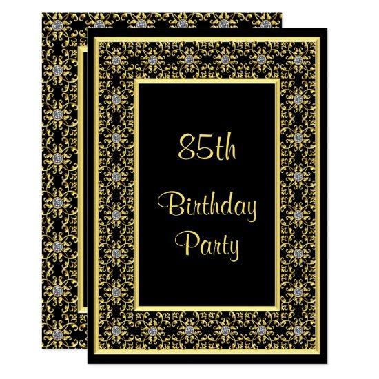 Elegant Gold Diamond Gems 85th Birthday Invitations