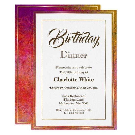 Elegant Gold Frame 50th Birthday Dinner Invitation – Candied Clouds