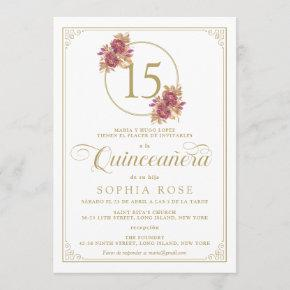 Elegant Gold Frame & Burgundy Rose Quinceanera Invitation