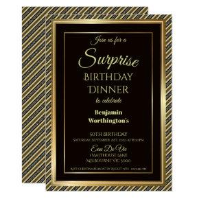 Elegant Gold Frame Surprise 50th Birthday Dinner Invitation