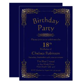 Elegant Gold Lace Blue 18th Birthday Party Invitation