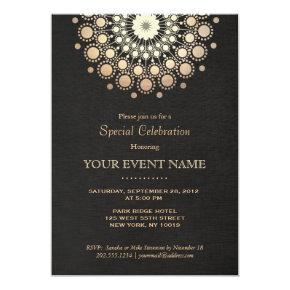 Elegant Gold Mandala Black Formal Invitation