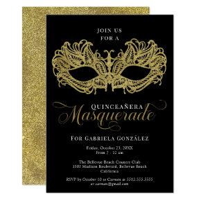 Elegant Gold Masquerade Mask Quinceanera Invitation