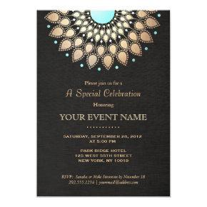 Elegant Gold Ornate Motif Black Linen Look Formal Invitation