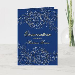 Elegant Gold Royal Blue Fine Floral Quinceanera Invitation
