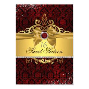 Elegant Gold Ruby Red Damask Sweet Sixteen Invite